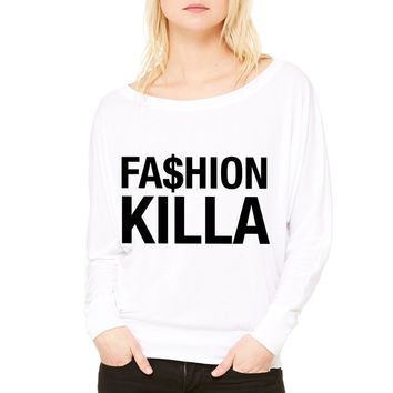 Fashion killa WOMEN'S FLOWY LONG SLEEVE OFF SHOULDER TEE