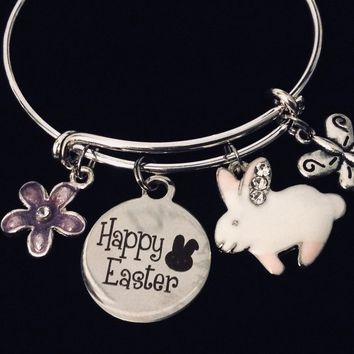 Easter Jewelry Happy Easter Bunny Butterfly Flower Expandable Charm Bracelet Silver Adjustable Bangle Trendy Rabbit Gift