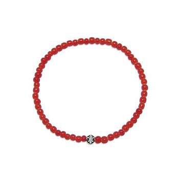 Men's Wristband with Red Glass Beads and Silver
