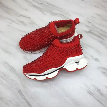 2020 NEW Cl Christian Louboutin Louis Spikes Style #1869 Sneakers Fashion Shoes RED