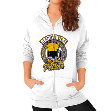 Bring in the relief pitcher Zip Hoodie (on woman)