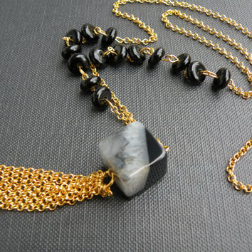 Black and Gold Sautoir Druzy agate and onyx pendant // Long TASSEL Necklace //Boho Mala inspired // Gold jewelry Christmas gift Gift for her