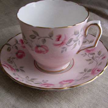 Shabby Chic Pretty Pink Rose Blossoms On Pink Bone China Teacup and Saucer, Crown Stafffordshire, English Bone China, Lovely Birthday Gift