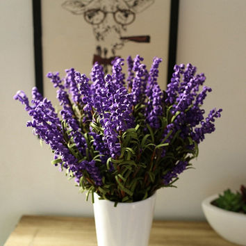 PE Artificial Flower Lavender Leaf Bouquet Craft Home Wedding Garden Party Decoration