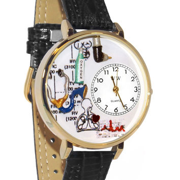 Whimsical Watches Respiratory Therapist Black Skin Leather And Goldtone Watch