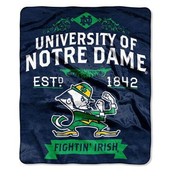 Notre Dame Fighting Irish NCAA Royal Plush Raschel Blanket (Label Series) (50x60)