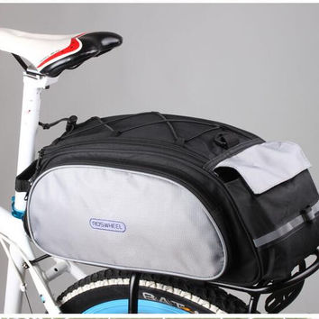 Top sale ROSWHEEL Bicycle Bags 13L Cycling Bike Pannier Rear Seat Bags Rack Trunk Shoulder Handbag Black Blue 2016 New Style
