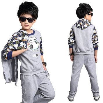 Child's 3pcs/sets sports hoodies sets for boys hooded vest+pullover T-shirt+trousers popular hero cartoon for 5-12 years teens