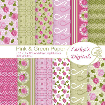 "Rose digital paper, ""pink and green shabby chic"" digital paper pack, pink roses, wedding, valentine, scrapbooking, roses, pink vintage roses"