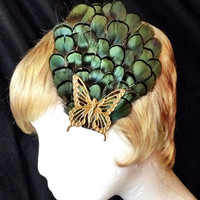 Emerald green pheasant feather and gold fairy butterfly fascinator hair clip