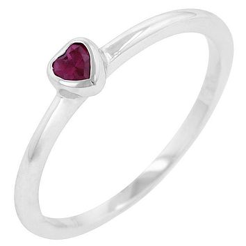 Delvani Bezel-Set Solitaire Heart Ruby Platinum Clad Ring