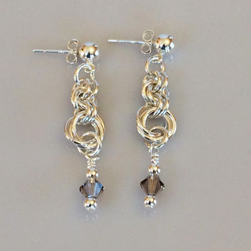 Smoky Swarovski Crystals and Silver Earrings on Silver Post Earring Studs -- Product E089