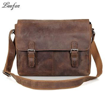 Men's Vintage genuine leather shoulder bag Laptop genuine leather messenger bag real leather crossbody bag school bag