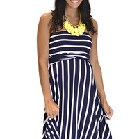 Strapless Navy and White Stripe Empire Waist Jersey Dress