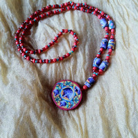 trippy stretch beaded necklace
