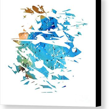 Abstract Acrylic Painting Broken Glass Blue And Brown Canvas Print