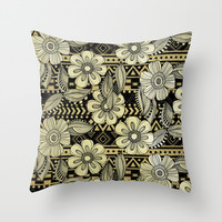 Floral Ink Throw Pillow by Louise Machado