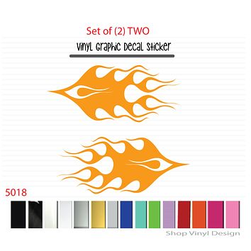 Flames Vinyl Graphic Decal Sticker  - STYLE F5018 - Set of (2)