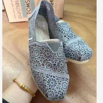 TOMS Natural Crochet Classics Flats Fashion hollow Summer Sexy Loose Shoes Dark grey