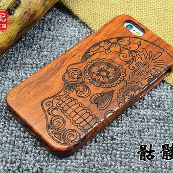 New Skull Full Wood Case for iPhone 6 plus Wooden New Cover Natural Real Bamboo Carving Wood Back Cover For iphone 6s plus 5.5""