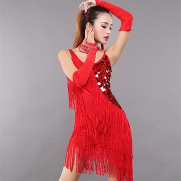 Christmas Costume Unequal Fringe Sequin Latin Dance Dress Swing Club wear V Neck Backless Tango Ballroom Samba Slip Dress
