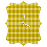 Holli Zollinger Yellow Gingham Quatrefoil Clock