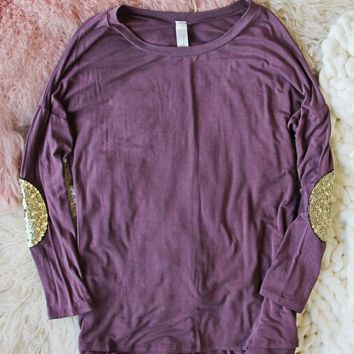 Cozy Elbow Patch Tee in Mauve