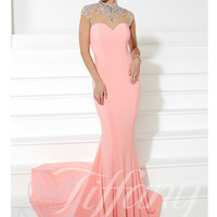 High Neckline Sheer And Beaded Mermaid Prom Dress Tiffany Designs 16075