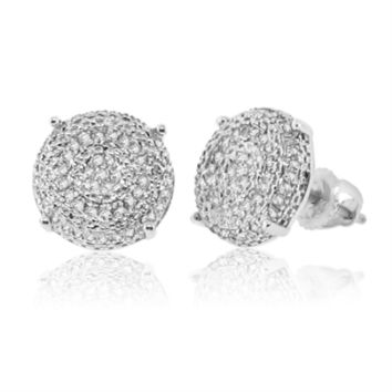 Diamond Micropave Earrings in Sterling Silver 0.22 Cttw