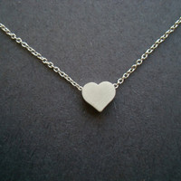 Simple Matt Silver Heart Necklace
