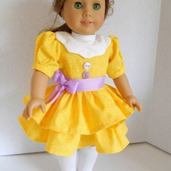 American Girl Doll Clothing/18 Inch Doll Clothes Yellow Dress Samantha