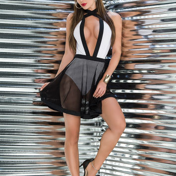 Plunge Neck Halter Dress | Sassy Assy Clubwear