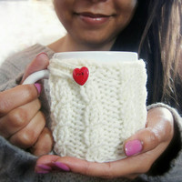 Mug Cozy with Heart Button – Knit Coffee Mug Cozy – Valentines Gift for Him or Her - Cabled Mug Cozy – Coffee Mug Cover – Cream Mug Cozy
