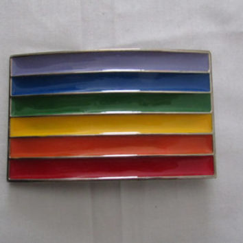 14-1102 Rainbow Stripe Belt Buckle / Gay Pride Belt Buckle / Hipster Belt Buckle / LGBT /