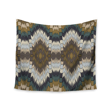 "Akwaflorell ""Papercuts"" Brown Geometric Wall Tapestry"