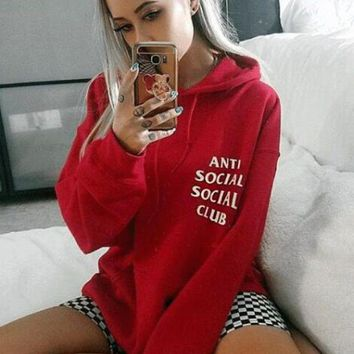 """Anti Social Social Club"" Trending Unisex Stylish Print Long Sleeve Hooded Sweater Top Red"