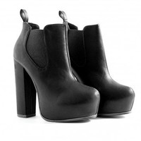 Missguided - Celestina Platform Ankle Boots In Black