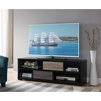 Wooden TV Stand With 4 Storage Shelves, Black