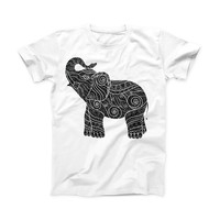 The Zendoodle Elephant ink-Fuzed Front Spot Graphic Unisex Soft-Fitted Tee Shirt