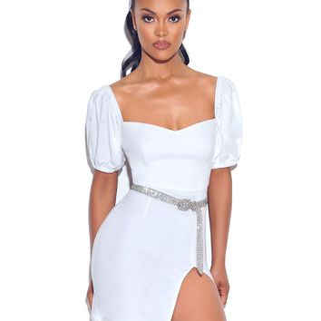 With You Puff Sleeve White Stretch Crepe Dress