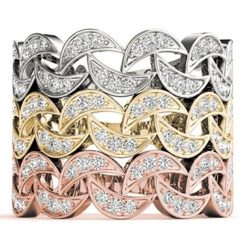 Stackables 3/4 Eternity Crescent Tri-Tone Gold 3-Band Set