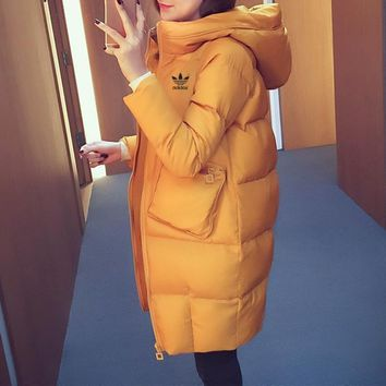 Adidas Women Simple Fashion Thickened Zip Cardigan Middle Long Section Long Sleeve Hooded Cotton-padded Clothes Coat