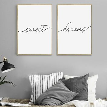 Bedroom Wall Art Canvas Painting Posters And Prints Sweet Dreams Poster For Bedroom Art Modern Decoration