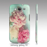 """iphone 4,4s, 5, Samsung Galaxy S3 case-""""like yesterday"""", pink peonies-aqua-flower photography"""