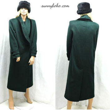 Full length forest green wool coat S Braefair Forstmann double breasted long wool coat wool winter maxi coat SunnyBohoVintage
