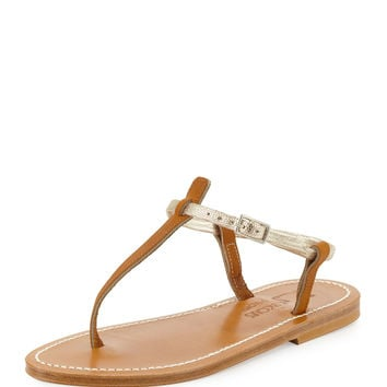 Picon Two-Tone Thong Sandal, Natural/Platinum - K. Jacques - Natural/Platinum (37.0B/7.0B)