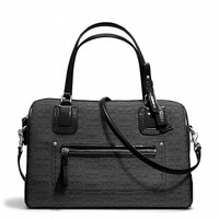 poppy east/west satchel in mini oxford signature c jacquard