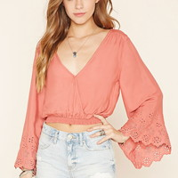 Surplice Eyelet Crop Top
