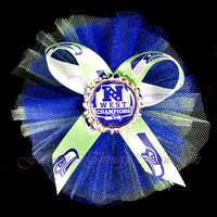 Seattle Seahawks NFC West Champions Tulle Hair Bow