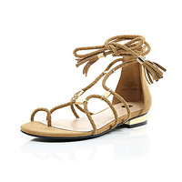 River Island Womens Brown woven gladiator sandals